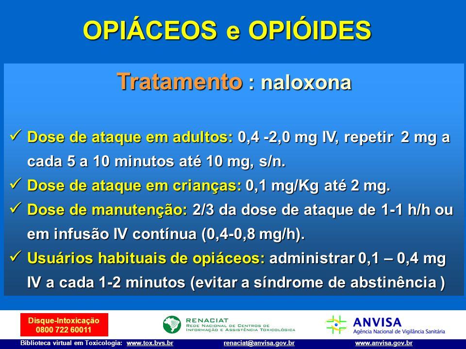 OPIÁCEOS e OPIÓIDES Tratamento : naloxona