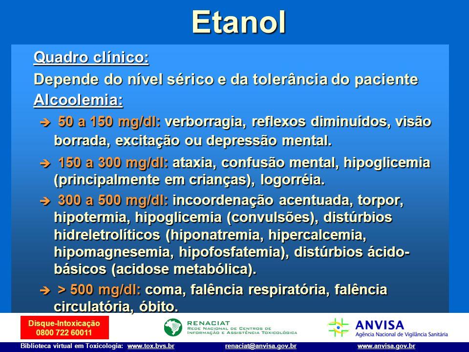 Etanol Quadro clínico: