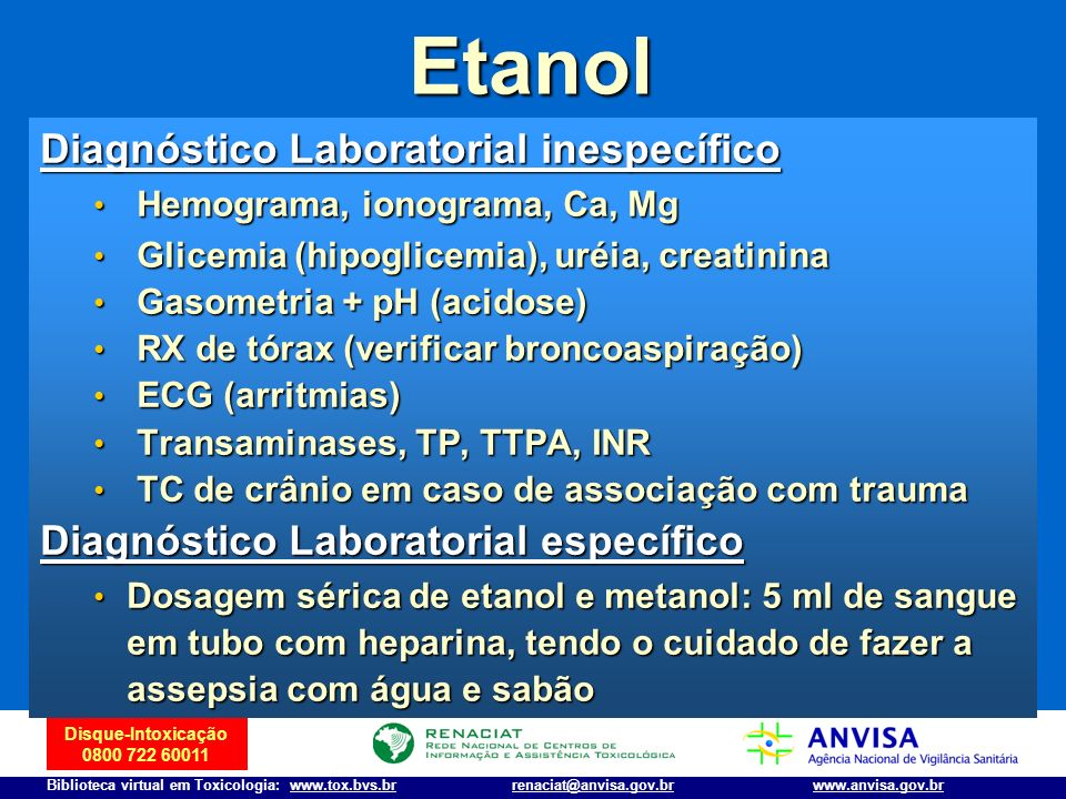 Etanol Diagnóstico Laboratorial inespecífico