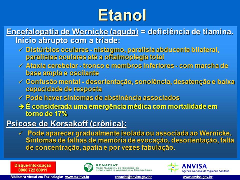 Etanol Encefalopatia de Wernicke (aguda) = deficiência de tiamina. Início abrupto com a tríade: