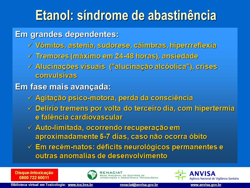 Etanol: síndrome de abastinência