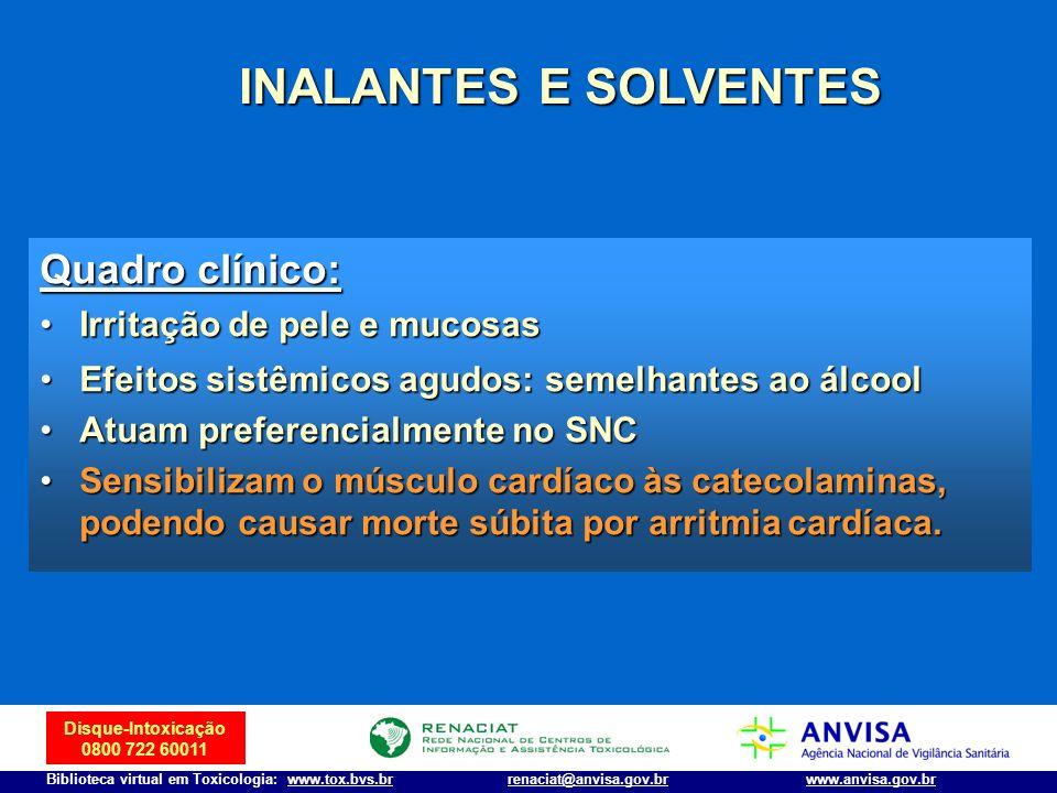 INALANTES E SOLVENTES Quadro clínico: Irritação de pele e mucosas