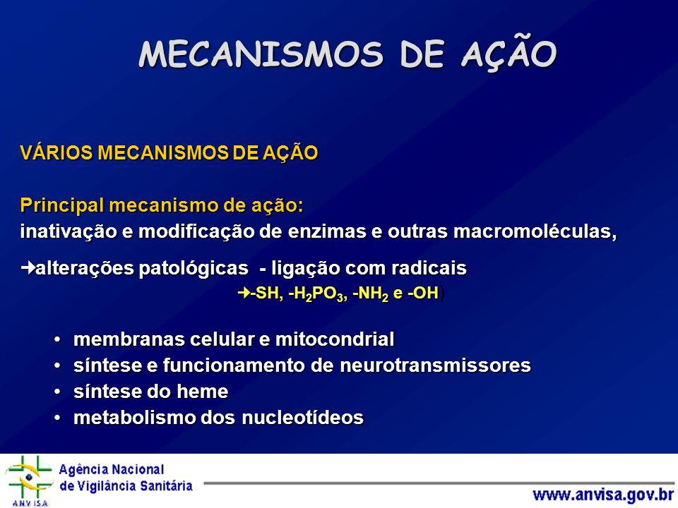 MECANISMOS DE AÇÃO Principal mecanismo de ação: