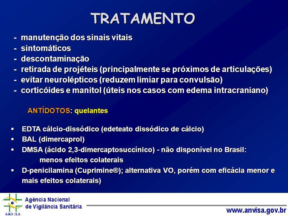 TRATAMENTO - manutenção dos sinais vitais - sintomáticos