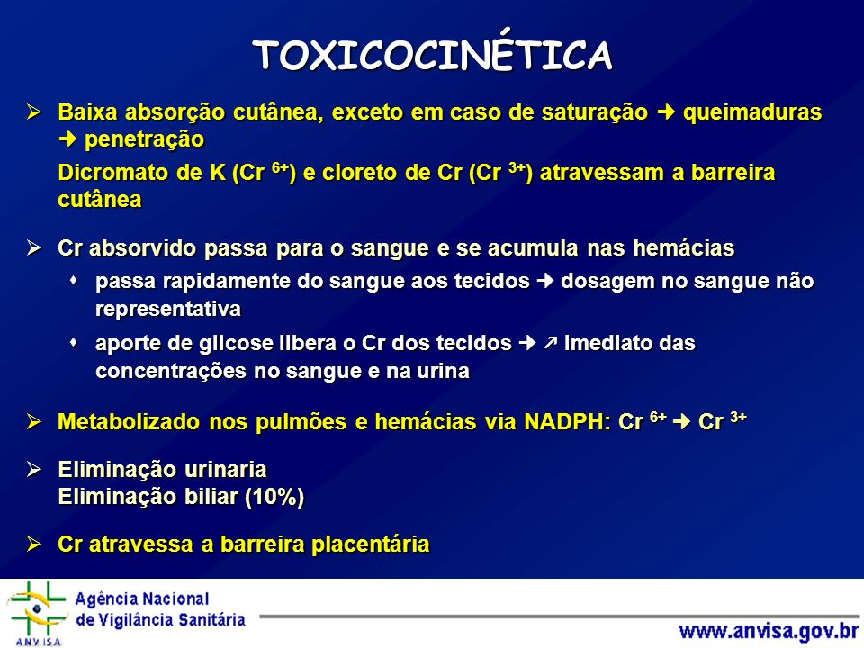 TOXICOCINÉTICA Baixa absorção cutânea, exceto em caso de saturação  queimaduras  penetração.