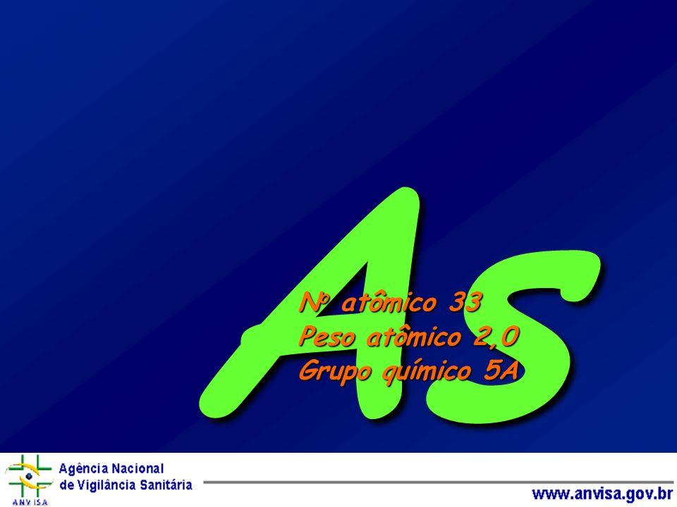 As No atômico 33 Peso atômico 2,0 Grupo químico 5A