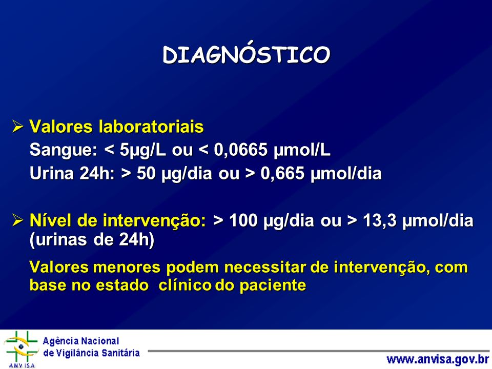 DIAGNÓSTICO Valores laboratoriais