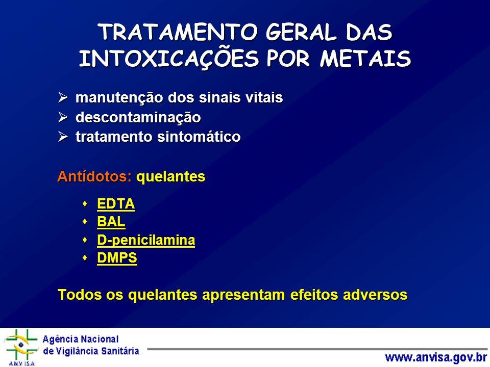 TRATAMENTO GERAL DAS INTOXICAÇÕES POR METAIS