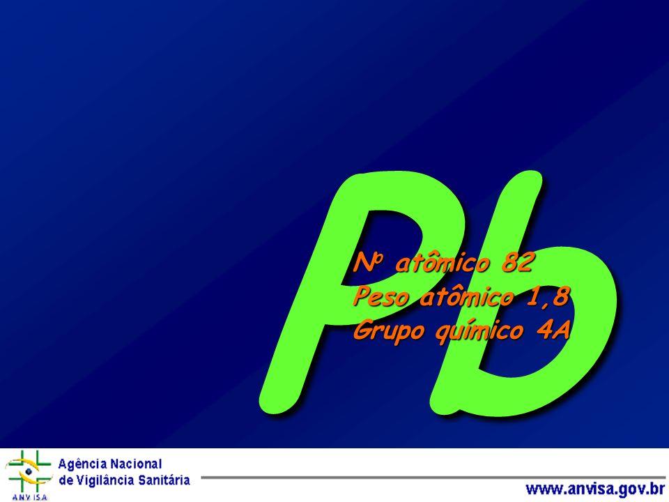 Pb No atômico 82 Peso atômico 1,8 Grupo químico 4A