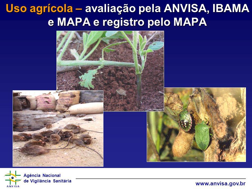 Uso agrícola – avaliação pela ANVISA, IBAMA e MAPA e registro pelo MAPA