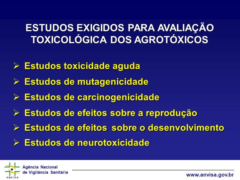 ESTUDOS EXIGIDOS PARA AVALIAÇÃO TOXICOLÓGICA DOS AGROTÓXICOS