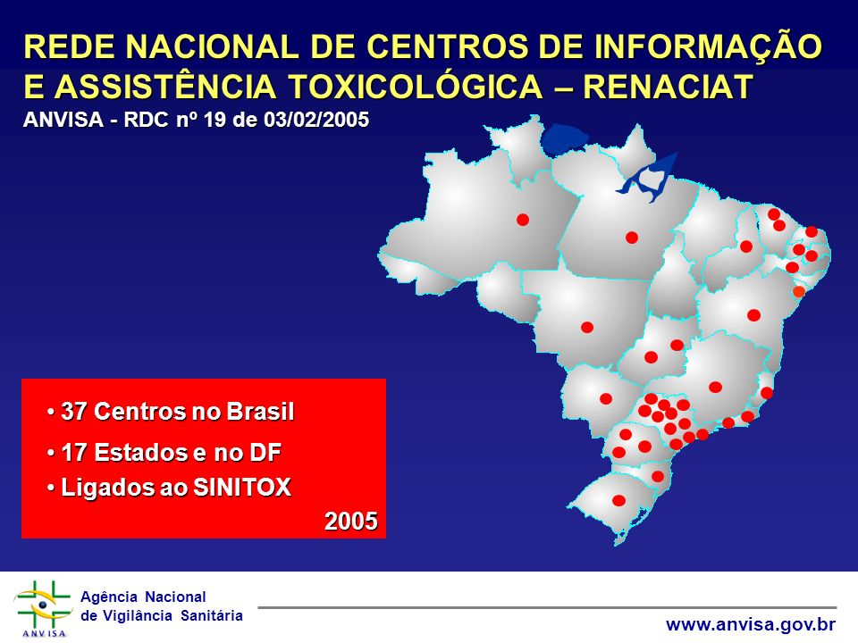 REDE NACIONAL DE CENTROS DE INFORMAÇÃO E ASSISTÊNCIA TOXICOLÓGICA – RENACIAT ANVISA - RDC nº 19 de 03/02/2005