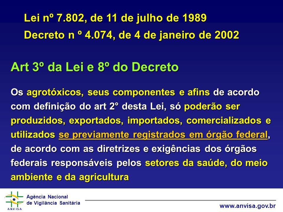Art 3º da Lei e 8º do Decreto