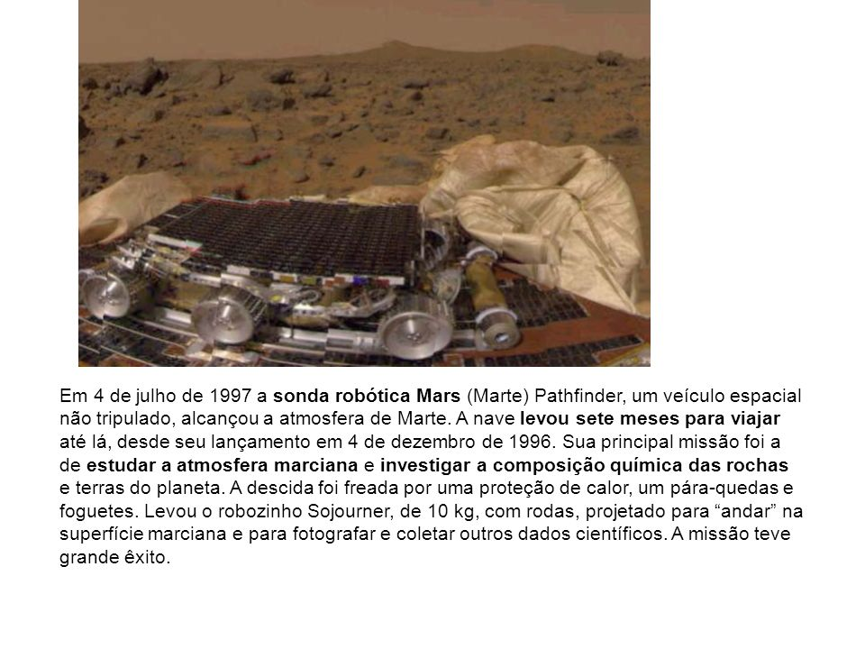 Em 4 de julho de 1997 a sonda robótica Mars (Marte) Pathfinder, um veículo espacial não tripulado, alcançou a atmosfera de Marte.