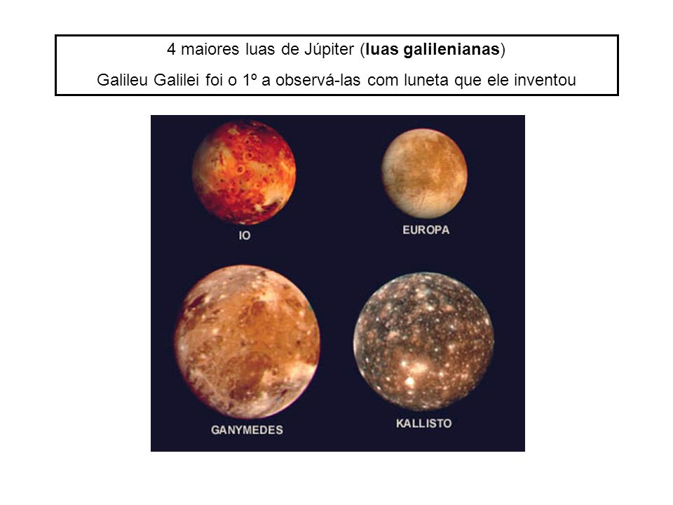 4 maiores luas de Júpiter (luas galilenianas)