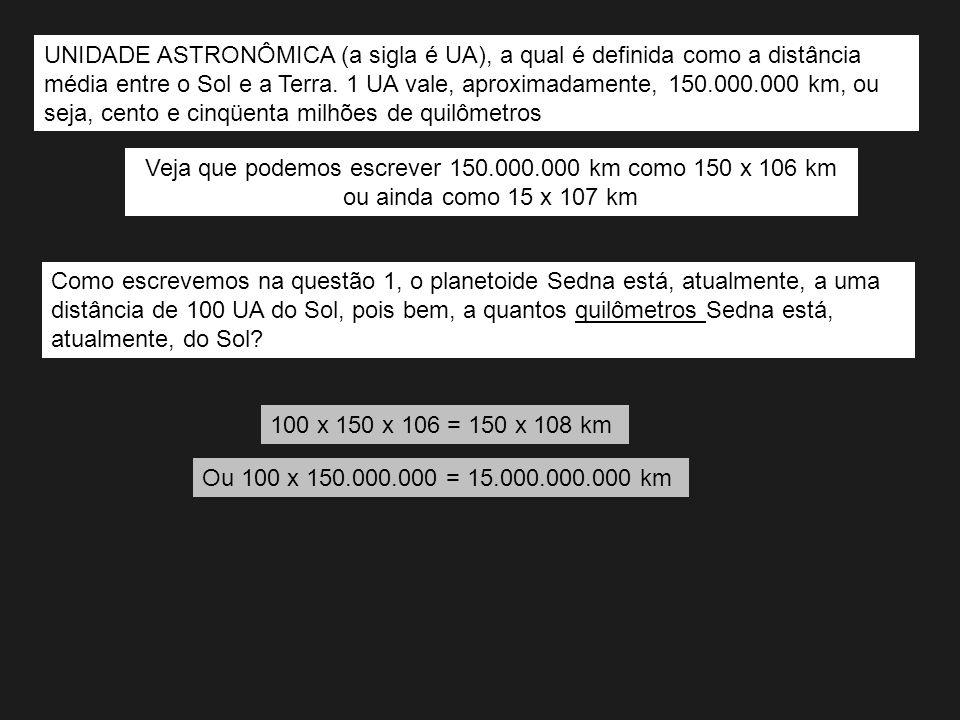 Veja que podemos escrever 150.000.000 km como 150 x 106 km