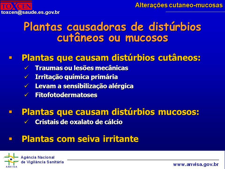 Plantas causadoras de distúrbios cutâneos ou mucosos
