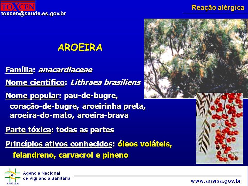 AROEIRA Família: anacardiaceae Nome científico: Lithraea brasiliens