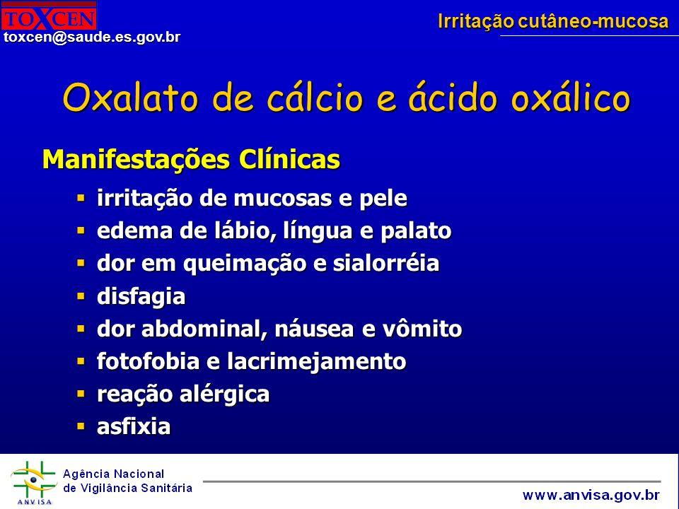 Oxalato de cálcio e ácido oxálico