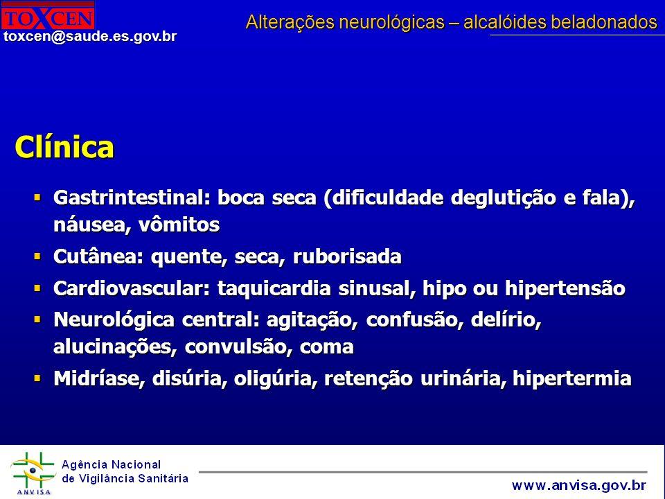 Alterações neurológicas – alcalóides beladonados