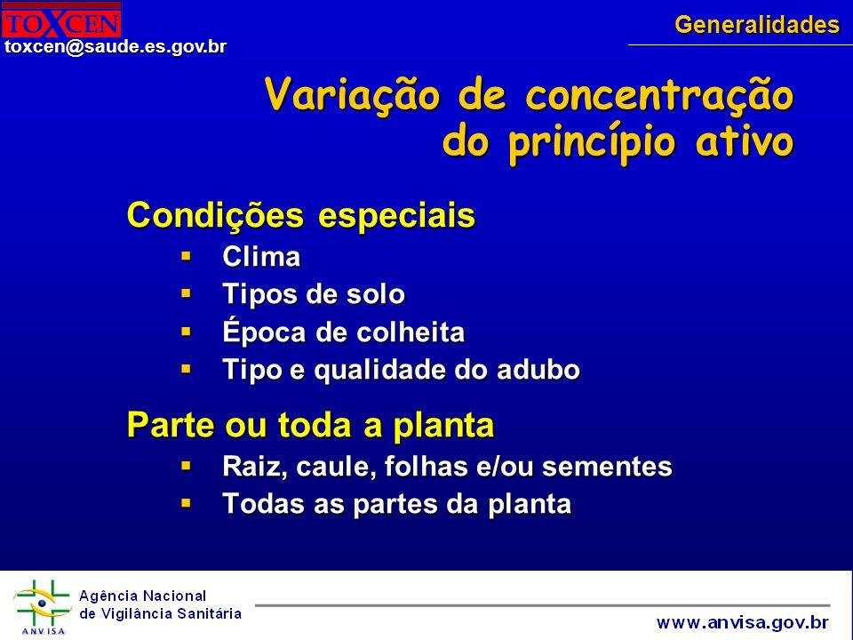 Variação de concentração do princípio ativo