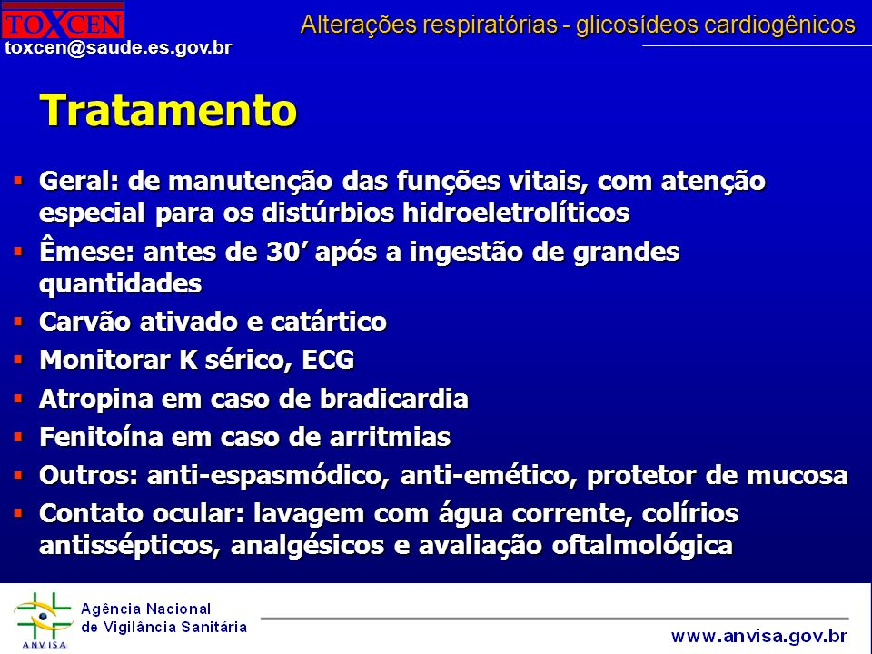 Alterações respiratórias - glicosídeos cardiogênicos