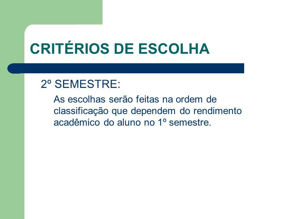 CRITÉRIOS DE ESCOLHA 2º SEMESTRE: