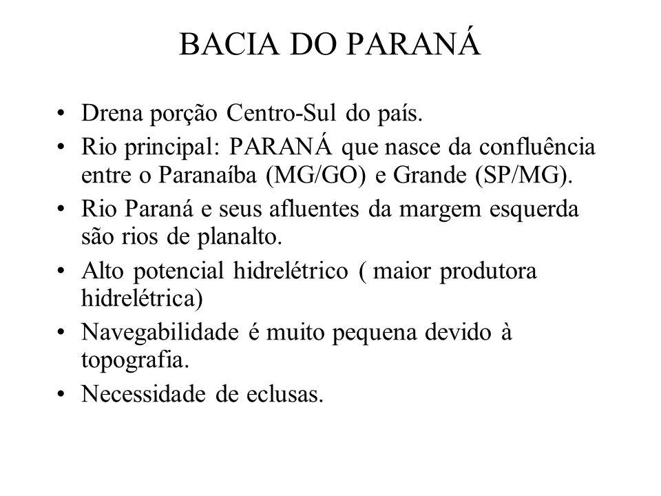 BACIA DO PARANÁ Drena porção Centro-Sul do país.