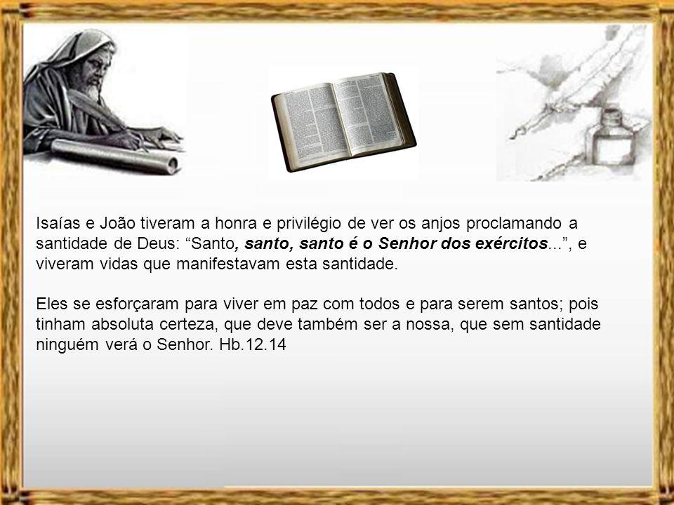 Isaías e João tiveram a honra e privilégio de ver os anjos proclamando a santidade de Deus: Santo, santo, santo é o Senhor dos exércitos... , e viveram vidas que manifestavam esta santidade.