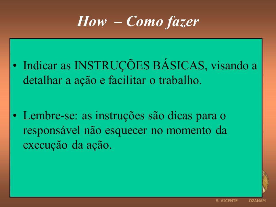 How – Como fazer Indicar as INSTRUÇÕES BÁSICAS, visando a detalhar a ação e facilitar o trabalho.