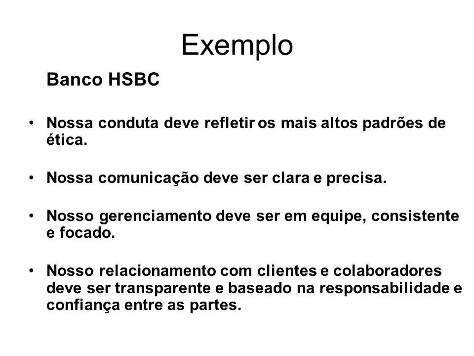 Exemplo Banco HSBC. Nossa conduta deve refletir os mais altos padrões de ética. Nossa comunicação deve ser clara e precisa.