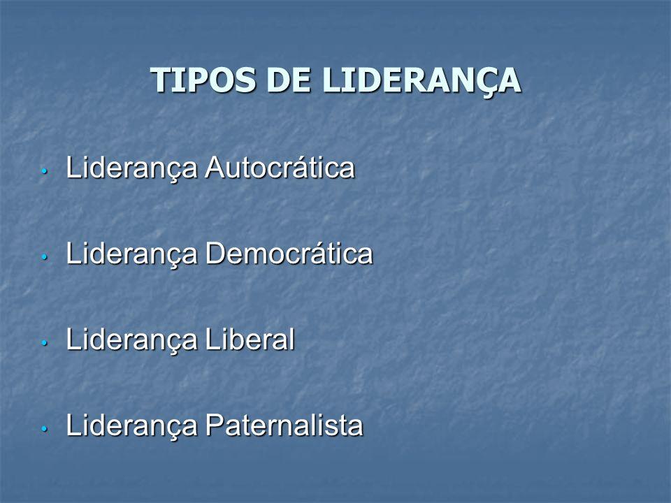 TIPOS DE LIDERANÇA Liderança Autocrática Liderança Democrática