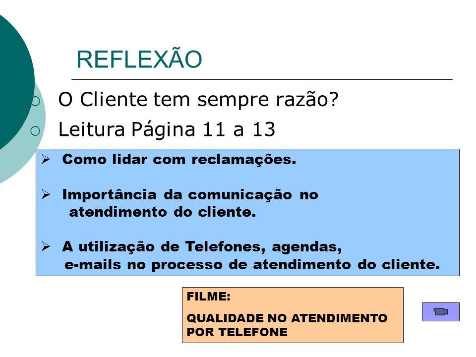 REFLEXÃO O Cliente tem sempre razão Leitura Página 11 a 13