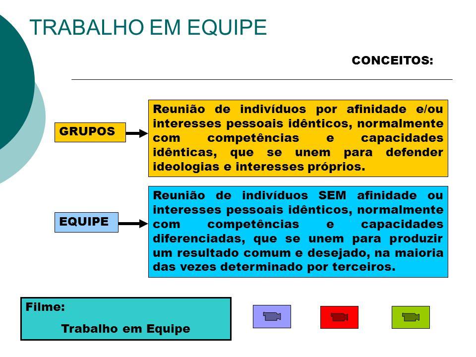 TRABALHO EM EQUIPE CONCEITOS: