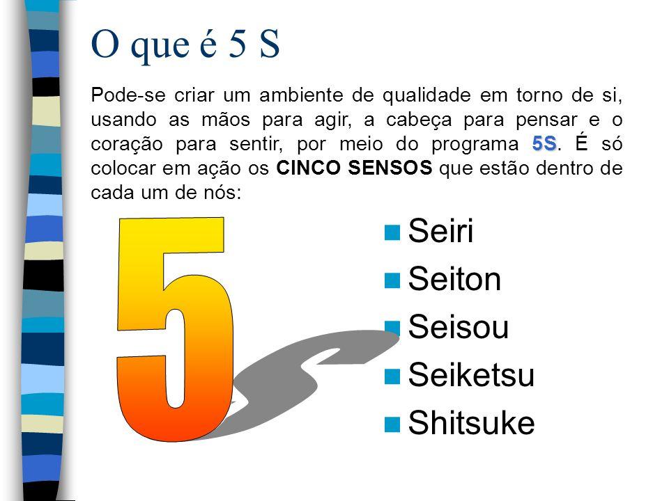 5 S O que é 5 S Seiri Seiton Seisou Seiketsu Shitsuke
