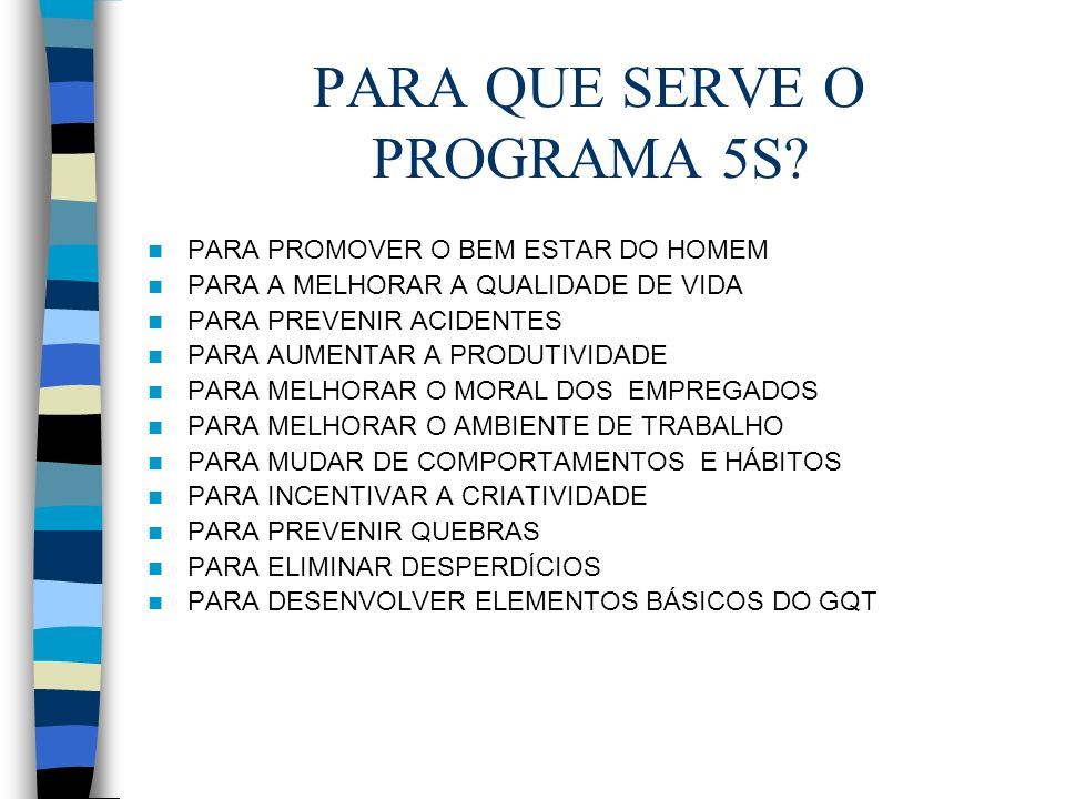 PARA QUE SERVE O PROGRAMA 5S
