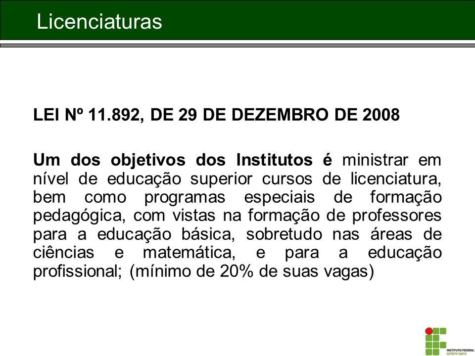 Licenciaturas LEI Nº 11.892, DE 29 DE DEZEMBRO DE 2008