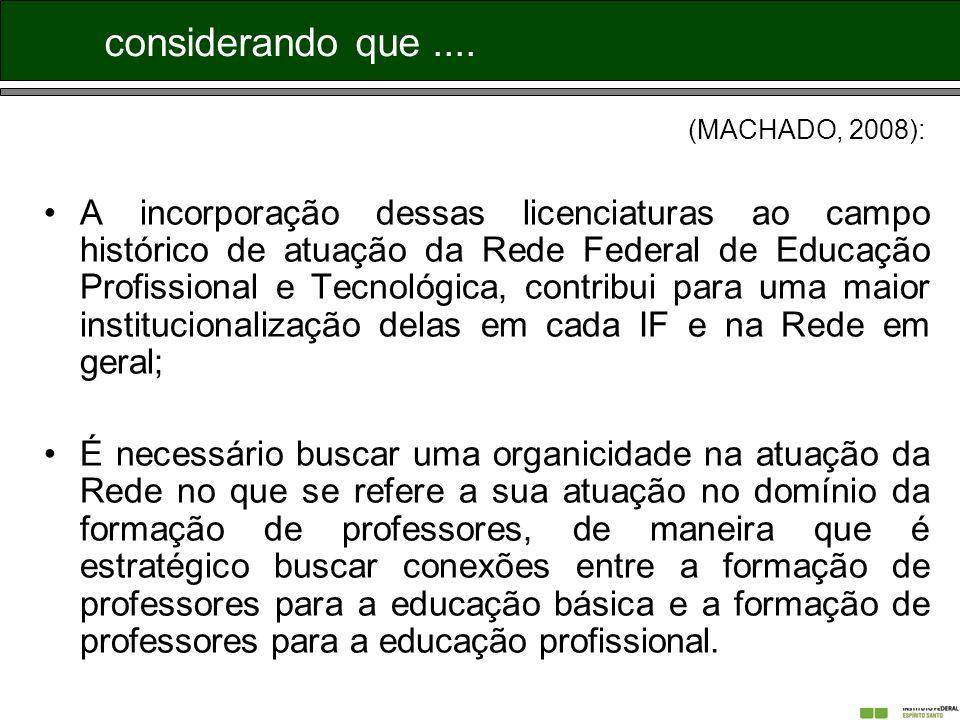 considerando que .... (MACHADO, 2008):