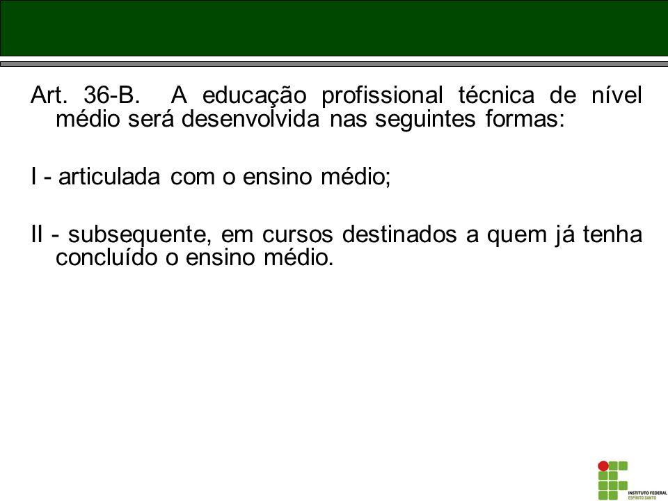 Art. 36-B. A educação profissional técnica de nível médio será desenvolvida nas seguintes formas: