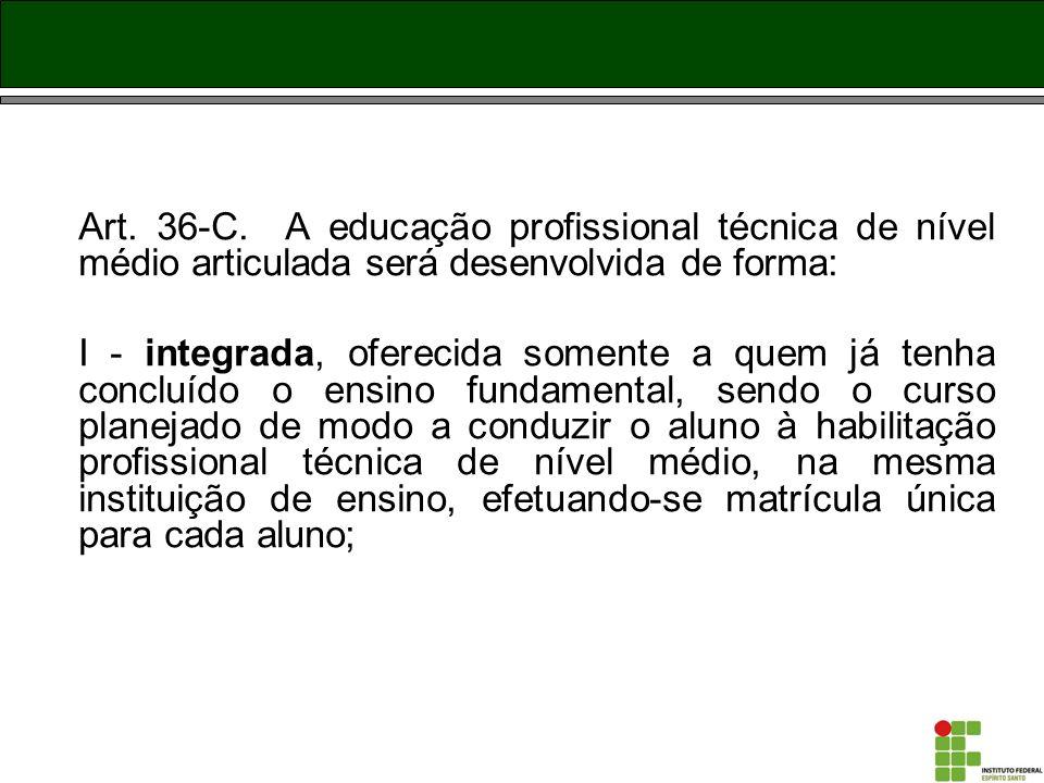Art. 36-C. A educação profissional técnica de nível médio articulada será desenvolvida de forma: