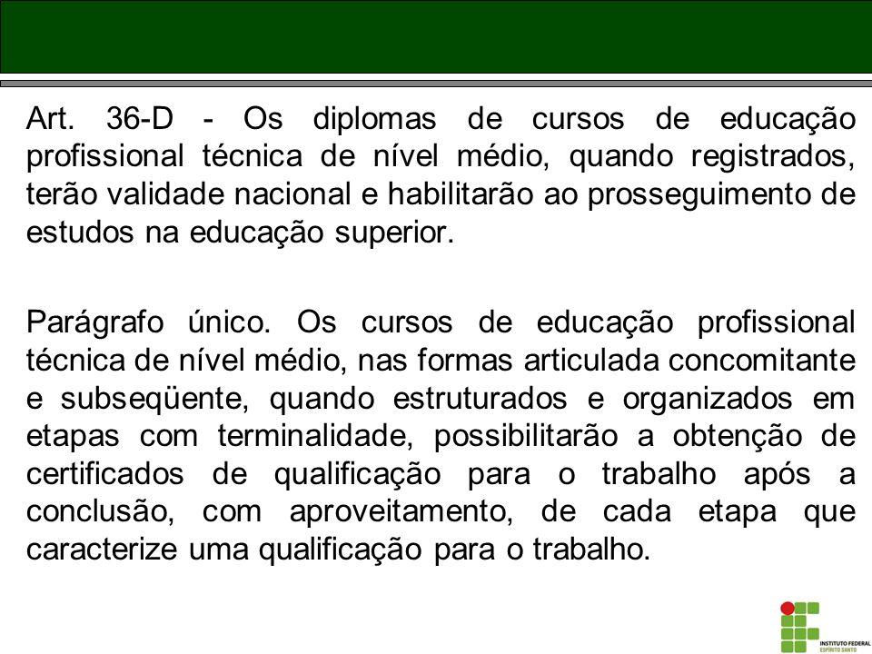 Art. 36-D - Os diplomas de cursos de educação profissional técnica de nível médio, quando registrados, terão validade nacional e habilitarão ao prosseguimento de estudos na educação superior.