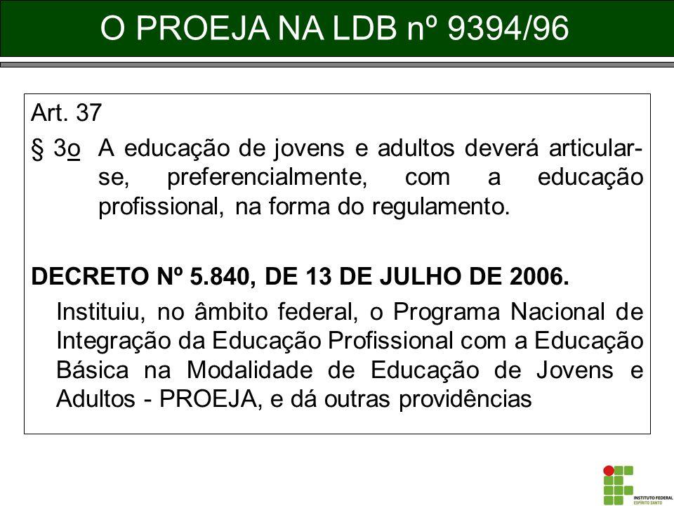 O PROEJA NA LDB nº 9394/96 Art. 37.