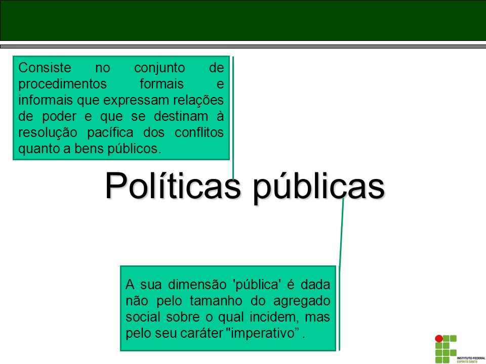Consiste no conjunto de procedimentos formais e informais que expressam relações de poder e que se destinam à resolução pacífica dos conflitos quanto a bens públicos.