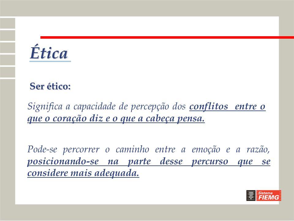 ÉticaSer ético: Significa a capacidade de percepção dos conflitos entre o que o coração diz e o que a cabeça pensa.