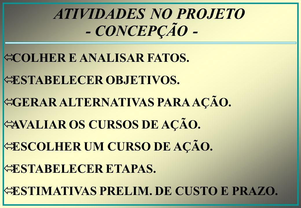 ATIVIDADES NO PROJETO - CONCEPÇÃO - COLHER E ANALISAR FATOS.