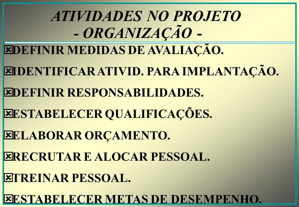 ATIVIDADES NO PROJETO - ORGANIZAÇÃO - DEFINIR MEDIDAS DE AVALIAÇÃO.