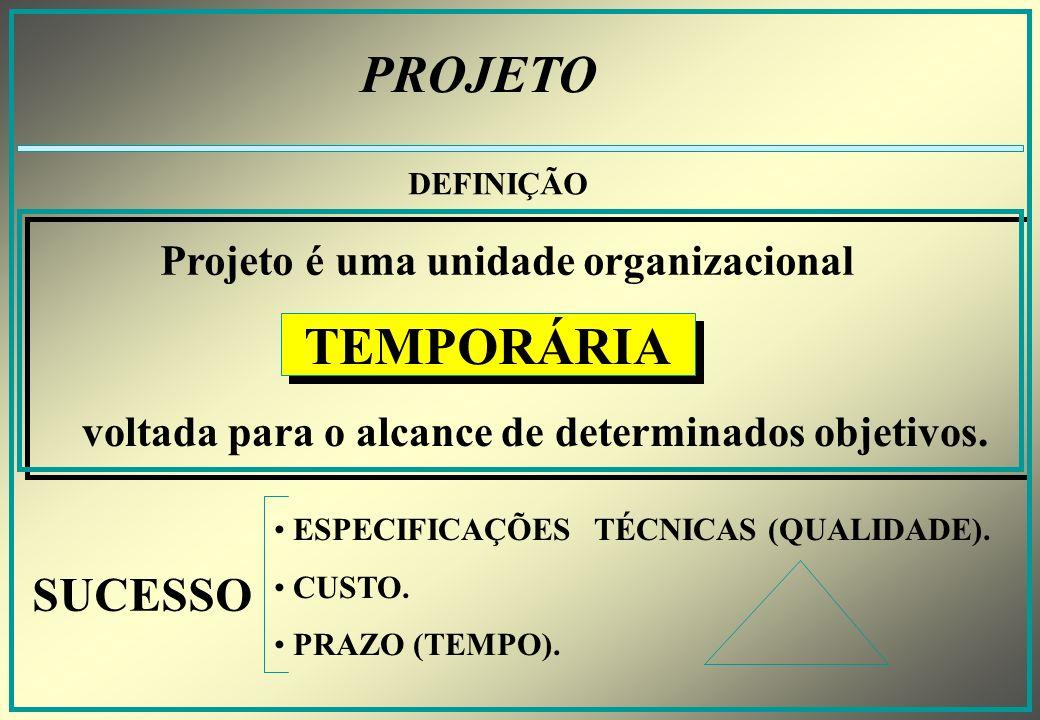 PROJETO TEMPORÁRIA SUCESSO Projeto é uma unidade organizacional