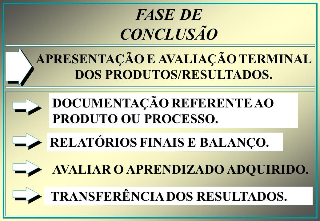 APRESENTAÇÃO E AVALIAÇÃO TERMINAL DOS PRODUTOS/RESULTADOS.