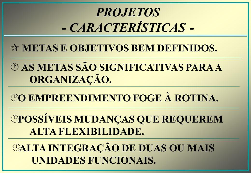PROJETOS - CARACTERÍSTICAS -