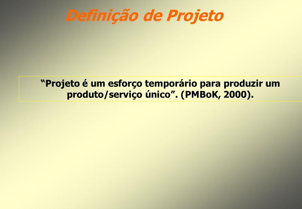 Definição de Projeto Projeto é um esforço temporário para produzir um produto/serviço único .